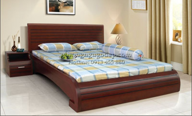 Giường gỗ đẹp 2020 kích thước chuẩn lỗ ban phong thủy, giá tại xưởng